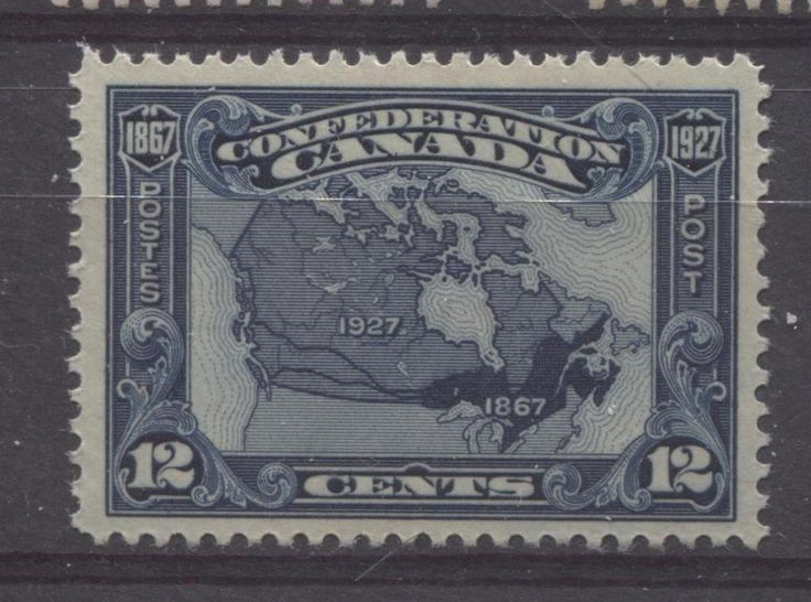 This stamp issued for the 60th anniversary of Confederation shows a map of Canada in 1867 after the country was first formed, and in 1927 when the stamp was issued.