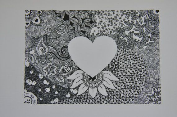heart silhouette - intricate patterns surrounding a heart on Etsy, $23.00 AUD