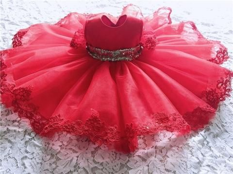 Girly Shop's Red Cute Sparkle Gold Sequin Applique Round Neckline Short Sleeve Knee Length Bow Back Baby Infant Toddler Little & Big Girl Party Tutu Lace Dress