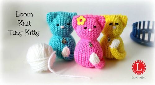 Loom Knit Patterns Amigurumi Kitty Cats with Video Tutorial