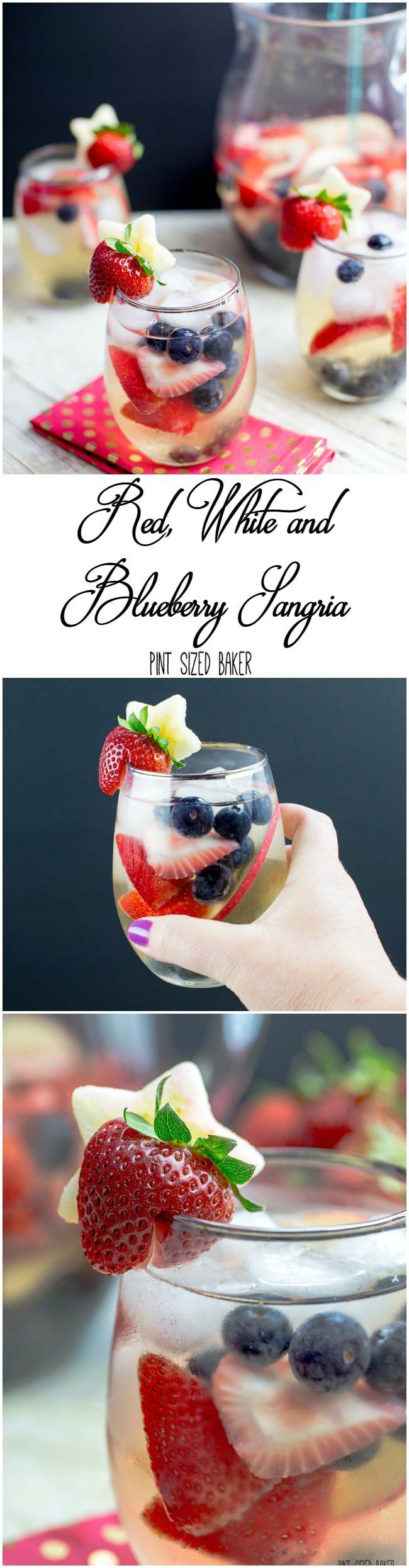 Summertime calls for a white wine Sangria. This Red, White and Blueberry Sangria Recipe serves a crowd. Fresh berries, white wine and some bubbly!