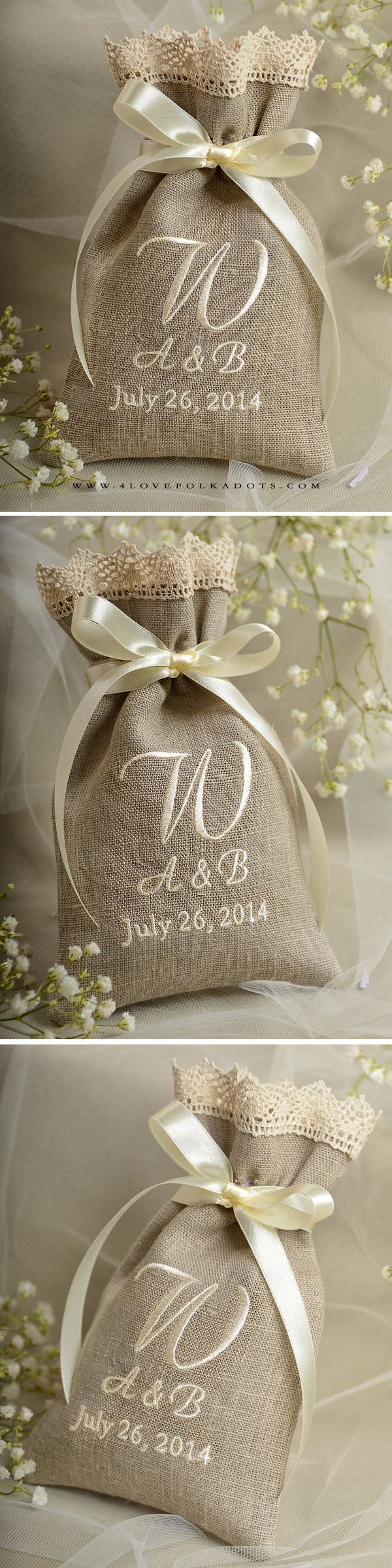 Natural Linen Wedding Favor Bag with Embroidery #countrywedding #rustic #barn #handmade