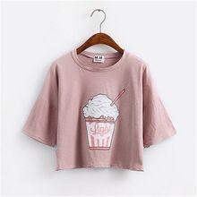 Веселые Довольно летом 2017 новый Harajuku женщины футболка мороженое корейский стиль хлопок свободные растениеводство топы kawaii футболка женщины ти топы(China (Mainland))