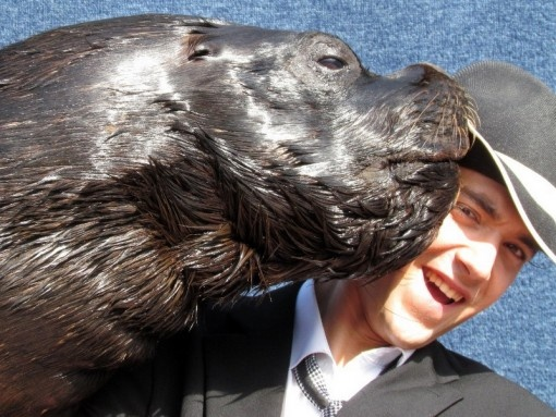 Patrick Burke with Roger and Maggie, the sea lions.