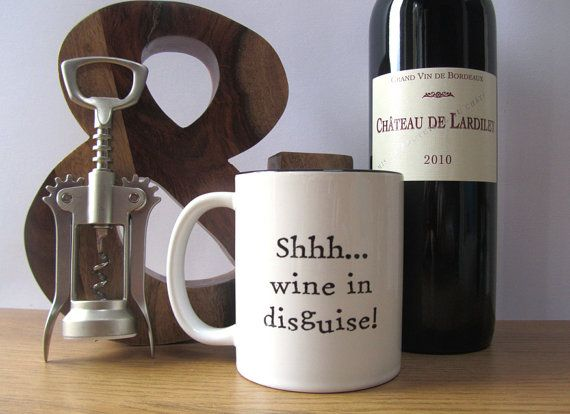 Shhh... wine in disguise mug cup. Unusual gift for her him. Gift for Mum Dad. Gift for couple. Funny Christmas gift present. Unusual gift