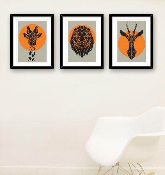 Conjunto de 3 estampados de animales de Safari geométrico mezclado en fresco fondo gris, imitación de Taxidermia, arte de los niños. Animales de origami
