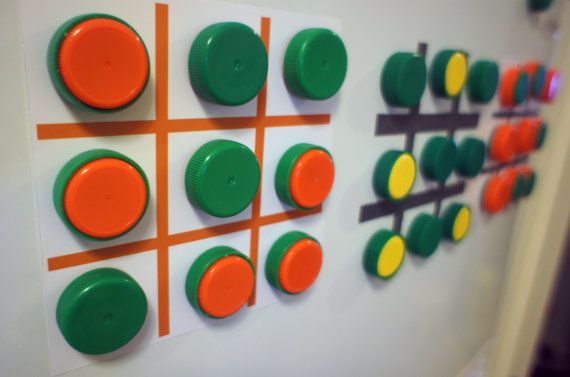 Unique Fridge Magnetic Tic Tac Toe Game from Upcycled Plastic Bottle Caps