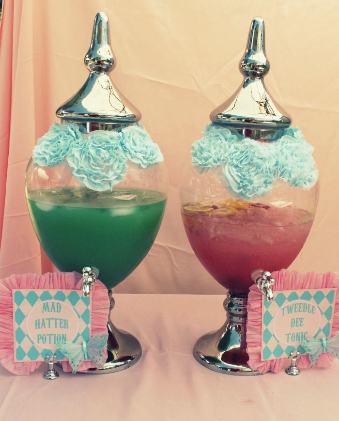 alice in wonderland birthday party Alice Wonderland party drinks