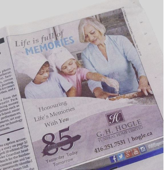 Find our ad for G.H. Hogle Funeral Homes in the Etobicoke Guardian! #printad #printdesign #graphicdesign #graphicarts #graphics #smallbusiness #newspaper #newspaperad #toronto #etobicoke #mississauga #canada #katika