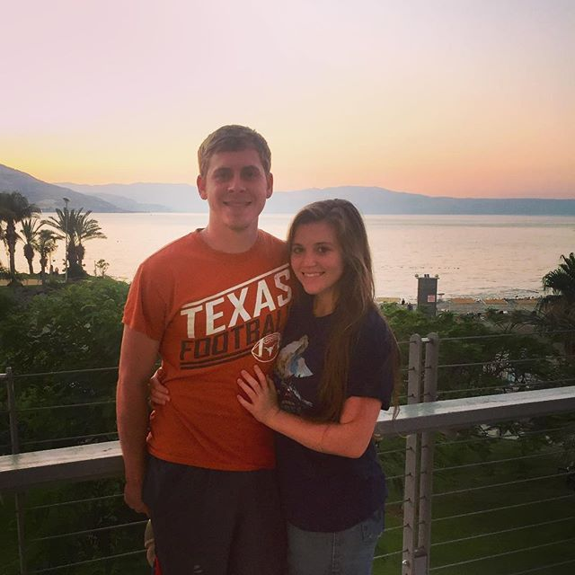 Austin and Joy (Duggar) Forsyth) celebrate their first month as a married couple in Israel. Wow, is Joy ever getting to look more and more like Jill every day!