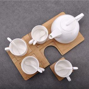 包邮新品 时尚新款简约咖啡杯套装 英伦陶瓷纯白咖啡杯 竹木托盘