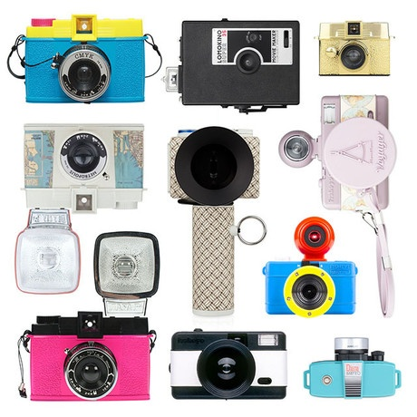 lomography: the middle of the bottom row camera in B is the same as my one, but mines Navy Blue. ;)