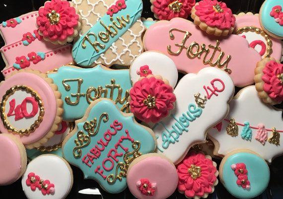 Fabuloso cumpleaños 40 colección de cookies de por NotBettyCookies