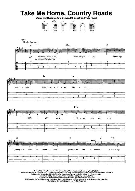 John Denver Country Roads Chord Chart - YouTube