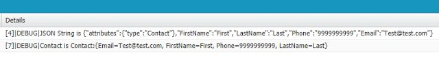 How to convert sObject to JSON String and JSON string to sObject using apex in Salesforce? -  Sample Code:Contact con = new Contact(FirstName = 'First' LastName = 'Last' Phone = '9999999999' Email = 'Test@test.com');/ Code to convert Contact to JSON string /String strJSON = JSON.serialize(con);system.debug('JSON String is '  strJSON);/ Code to conver JSON string to Contact /Contact con1 = (Contact)JSON.deserialize(strJSON Contact.Class);system.debug('Contact is '  con1);Output:  Cheers!!!