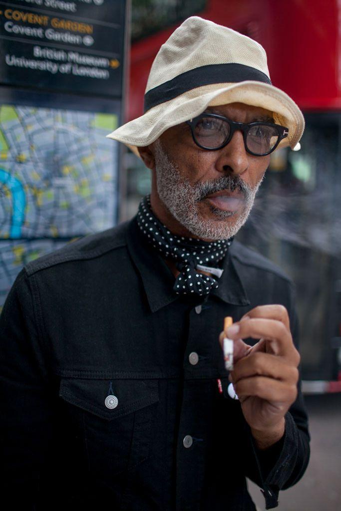 Black Denim Jacket, Silk Scarf, Deconstructed Straw Hat, and Tom Ford Sunglasses, Urban Street Style, Men's Spring Summer Fashion.