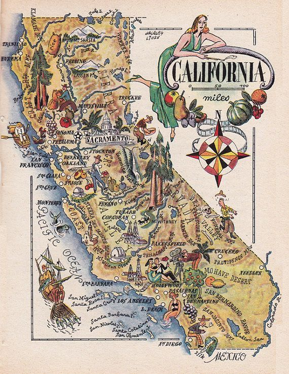 old map of California, a pictorial map by Jacques Liozu, 1946, this is a good source for high quality printable vintage maps and illustrations