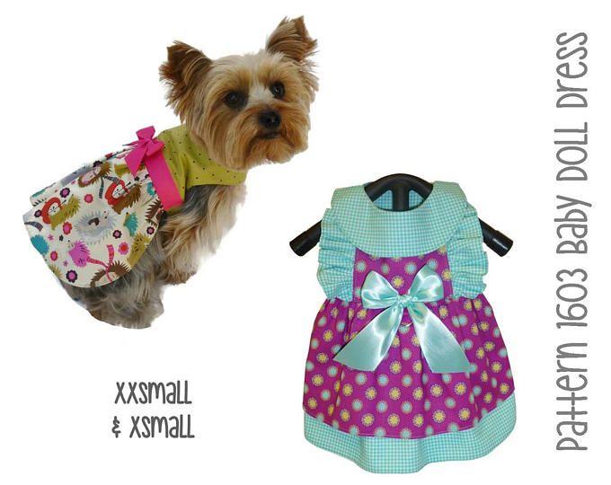 Baby Doll Dog Dress Pattern 1603 Dog Clothes Patterns Dog