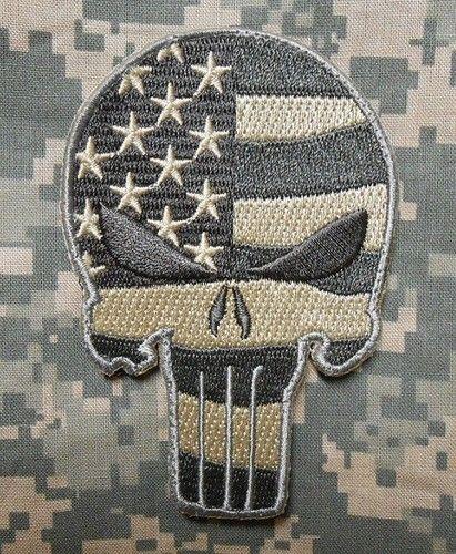 Punisher Skull USA Waving Flag Milspec US Army Morale ISAF Camo ACU Velcro Patch | eBay