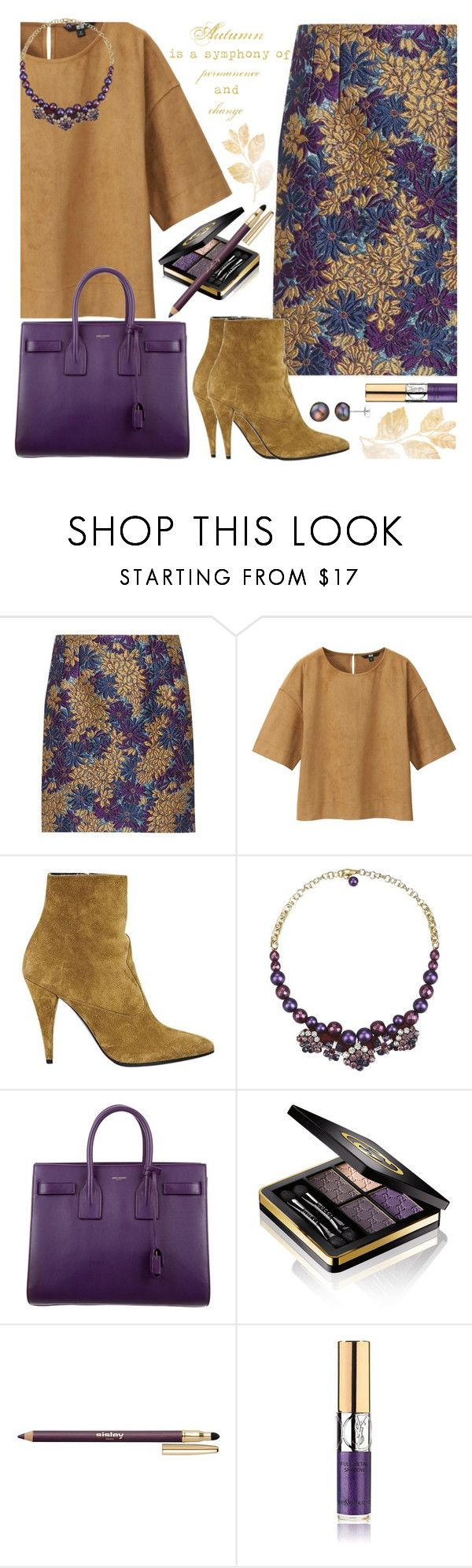 """""""Fall Floral Skirt & Ankle Boots"""" by brendariley-1 ❤ liked on Polyvore featuring Dolce&Gabbana, Uniqlo, Yves Saint Laurent, ORTYS, Gucci, Sisley, A B Davis and fallfashion"""