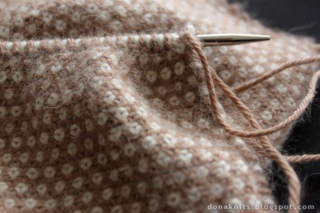 I love this stitch! (This is linen stitch, knit alternating two rows of colour A with one of colour B.)