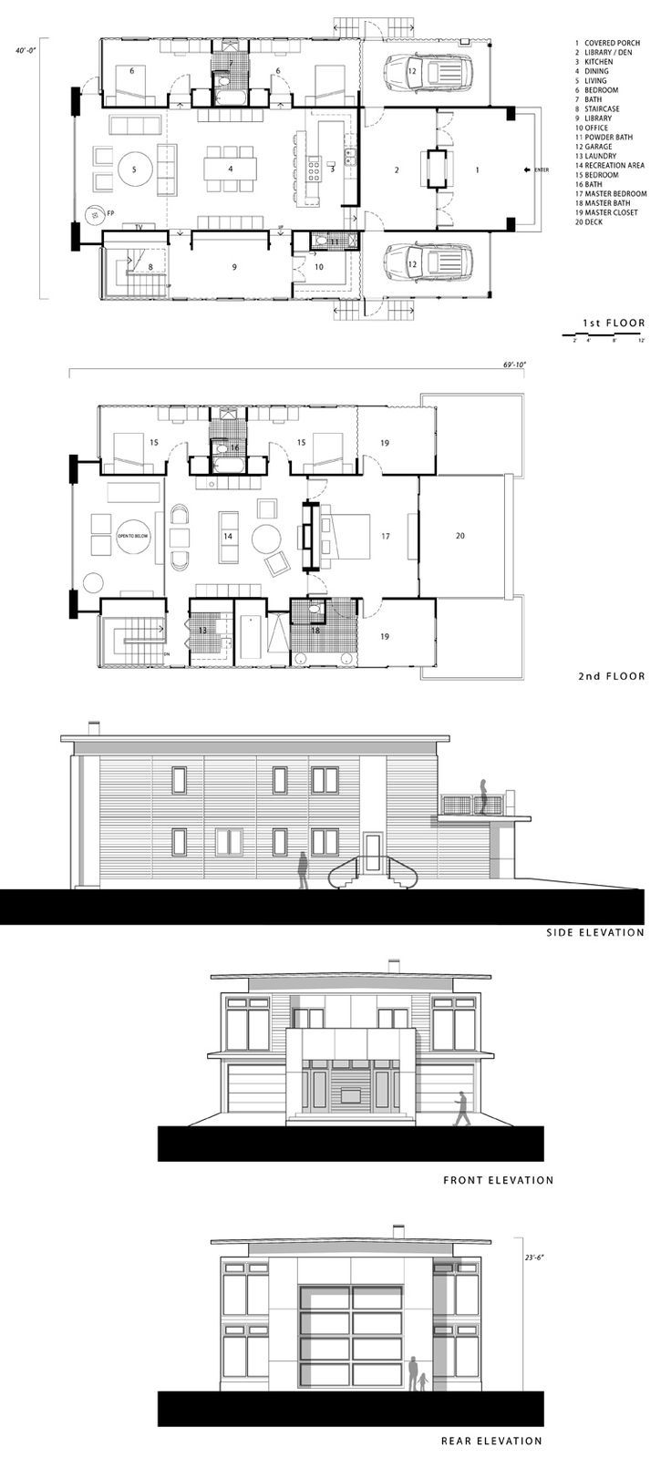 Container Home Design- too big @ 5 bd & library, but cool