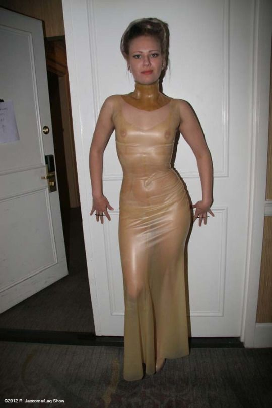 You have translucent latex dress valuable