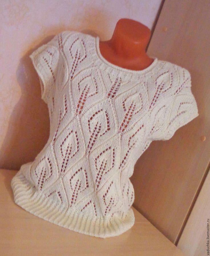 Купить Кофточка ХЛОПОК - однотонный, ажурная кофточка, ажур, ажурный узор, женская одежда