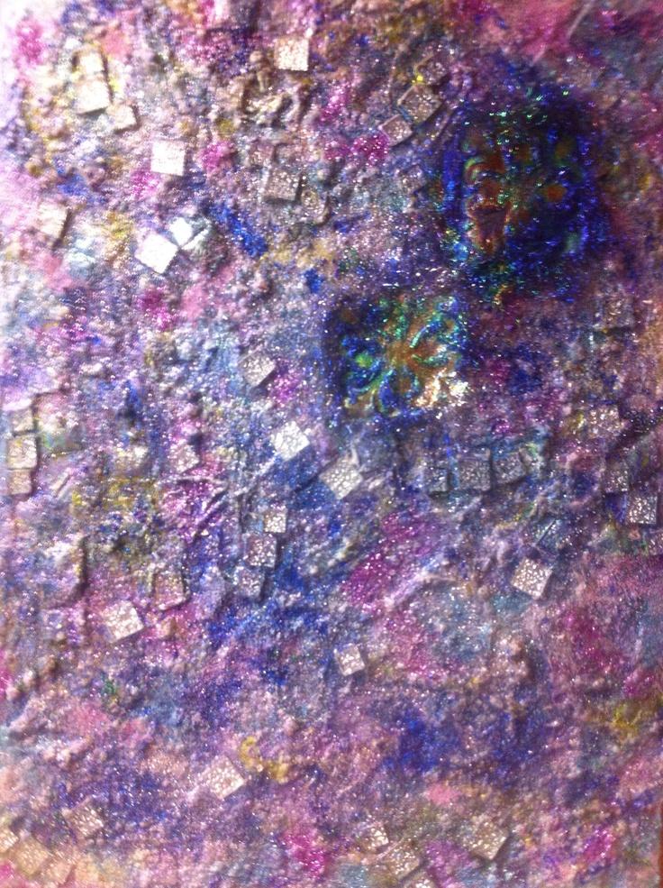 Texture using glass tiles, beads, glitter & fused Angelina Fibers Artwork by Jill Lynne Ness