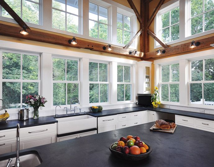 Marvin Windows and Doors Photo Gallery - WOOD BEAMS WITH SCONCES ABOVE