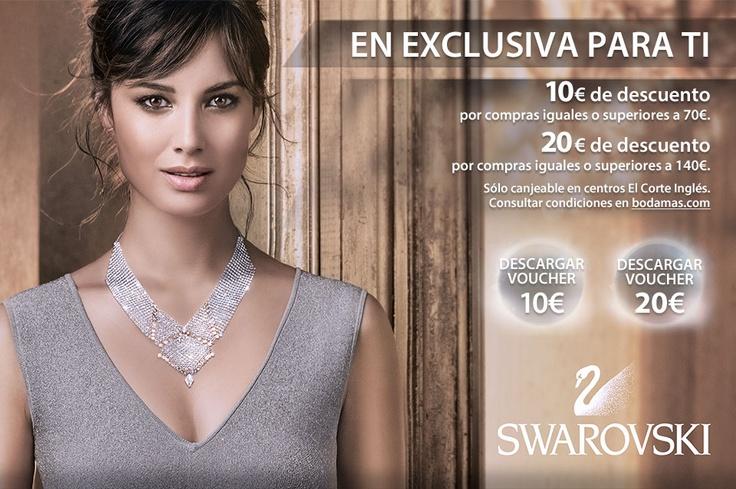 Vales descuento en #Swarovski en #elcorteingles. #joyas #bodas #bodamas