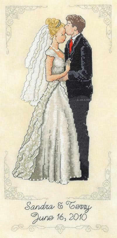 I Thee Wed by Xs and Ohs, cross stitch using Kreinik threads