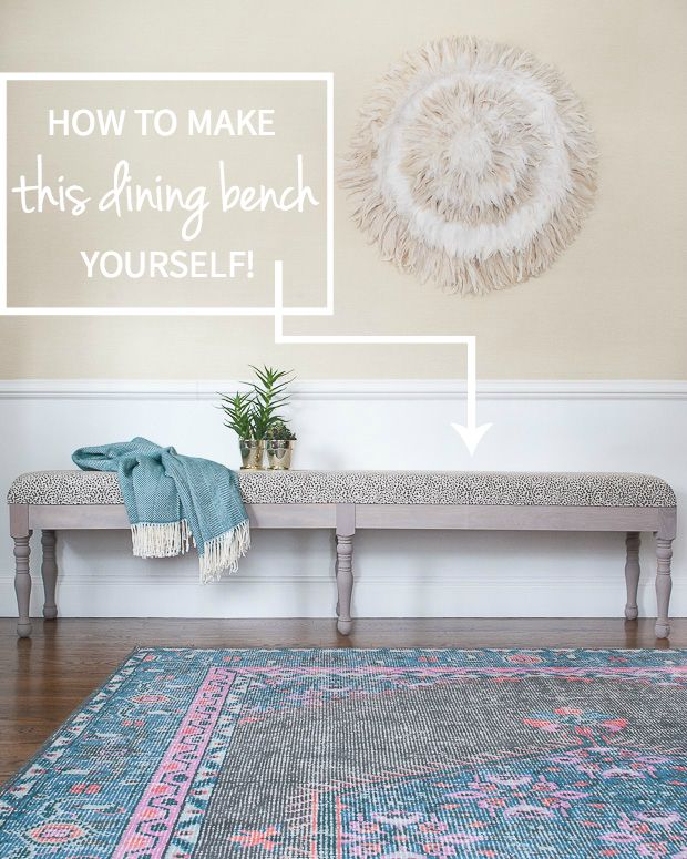 An easy-to-follow tutorial for building this gorgeous upholstered dining bench yourself! A DIY dining bench anyone can do.