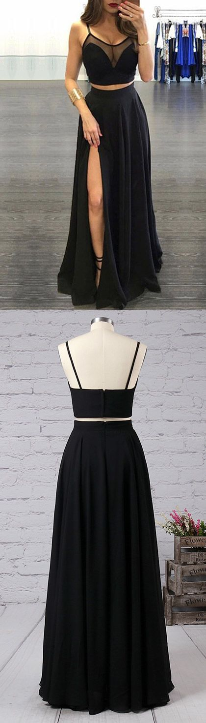Two Piece Prom Dresses Black, Long Party Dresses 2018 Sexy, A-line Scoop Neck Formal Evening Gowns Tulle Chiffon Split Front