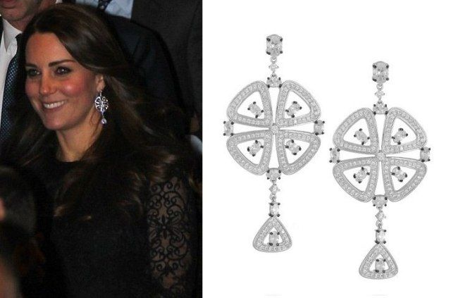 Duchess of Cambridge Kenneth Jay Lane  silver-tone metal earrings with inlaid crystals. The Duchess wore these earrings to a Manhattan Dinner for The Royal Foundation December 7, 2014 in New York City.