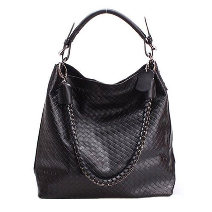 Fineplus Women's Genuine Leather Weaved Bag Shoulder Strap Tote Bag
