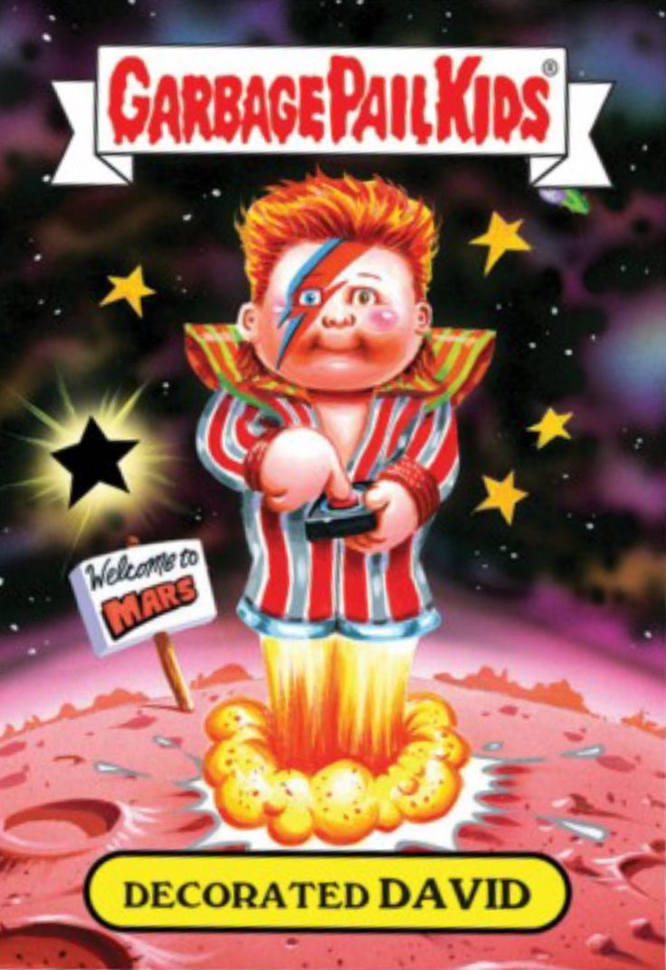 Decorated David Bowie Garbage Pail Kids