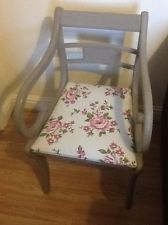 Shabby Chic Chair in Annie Sloan French Linen and Floral Seat Pad.