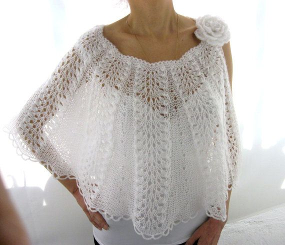 Elegant Hand Knitted  Lace  Bolero Capelet  in  White by Rumina