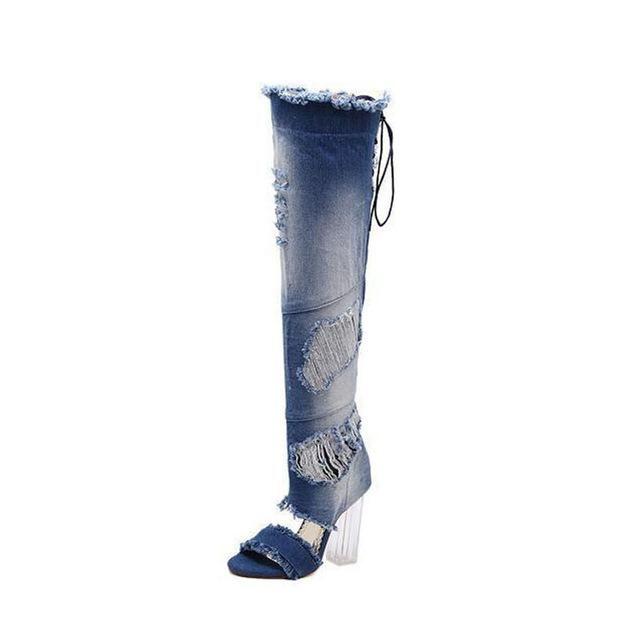 Denim Jeans Over The Knee High Gladiator Transparent Heel High Boots
