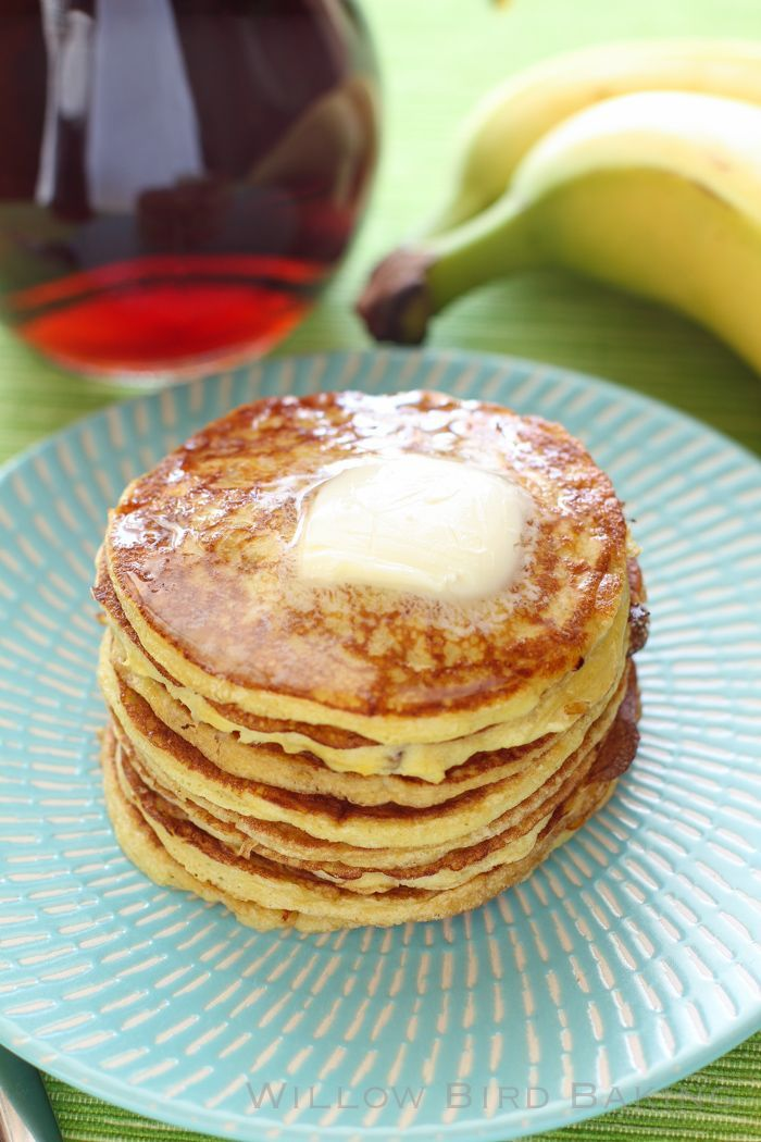 Recipe for Four-Ingredient Protein Pancakes from Willow Bird Baking