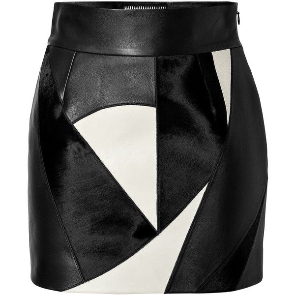 Fausto Puglisi Leather Patchwork Skirt found on Polyvore featuring skirts, bottoms, saia, faldas, multicolored, white and black skirt, black and white leather skirt, colorful skirts, high-waist skirt and high waisted knee length skirt