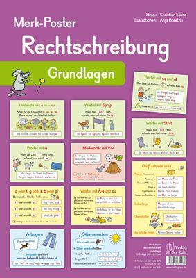 Merk-Poster - Rechtschreibung – Grundlagen ++ #Poster für den Klassenraum, Fach: #Deutsch, #DaZ, Klasse 1–3 ++ Dekorative Poster mit den wichtigsten Rechtschreib-Regeln + Zur Erarbeitung oder als Gedächtnisstütze + Einfache Regeln, Nachdenkwörter, Merkwörter, Rechtschreib-Strategien+ Sinnvolle Ergänzung zu den übrigen Merk-Postern #Grundschule