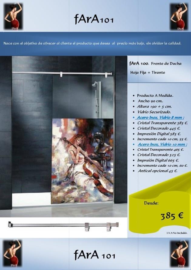 Mampara de Ducha realizada a medida con cristal decorado y vidrio de 8mm en acero inoxidable.