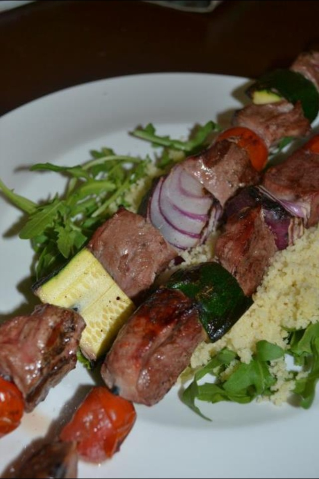 Wallaby kebabs with cous cous and rocket
