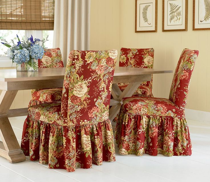 Dining Room Chair Slipcovers With Flower Motif Flowers Slipcover