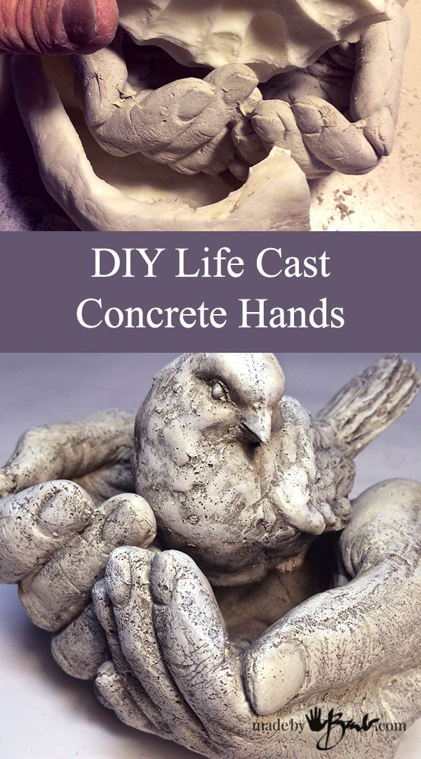 DIY Life Cast Concrete Hands made using alginate life casting techniques in plaster and then silicone mold making to cast in Rapidset Concrete