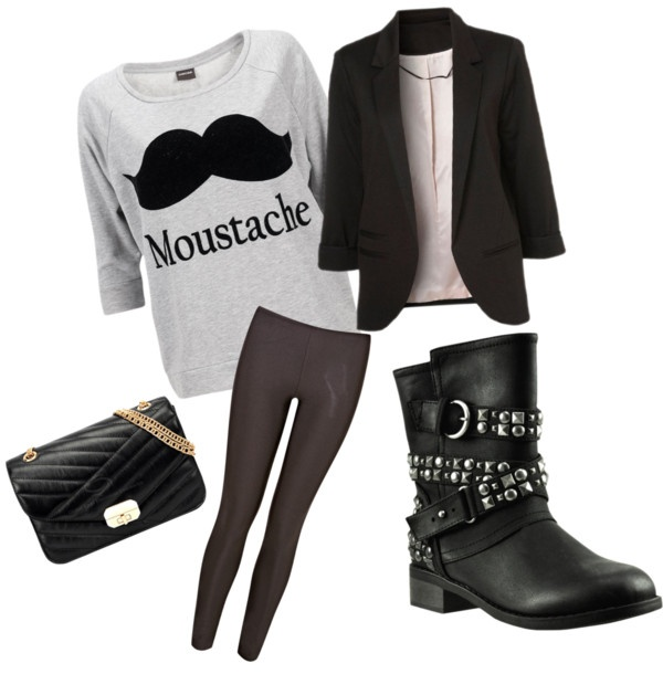 Biker boots outfit! #PeachesandMondays.  Cute Movember outfit