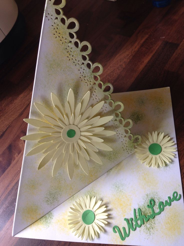 Twisted easel birthday card using dies and ink stippling