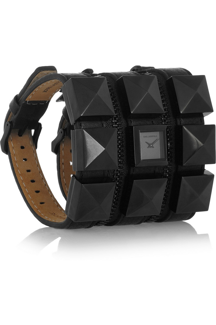 Karl Lagerfeld | Karl Zip studded leather watch